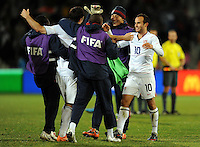 Landon Donovan (10) of USA celebrates at full-time. USA defeated Spain 2-0 during the semi-finals of the FIFA Confederations Cup at Free State Stadium in Manguang/Bloemfontein, South Africa on June 24, 2009..