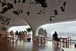 Spain, Canary Island, Lanzarote, near Haria: Mirador del Rio - cafe designed by Cesar Manrique | Spanien, Kanarische Inseln, Lanzarote, bei Haria: Aussichtspunkt Mirador del Rio - Cafe designed von Cesar Manrique