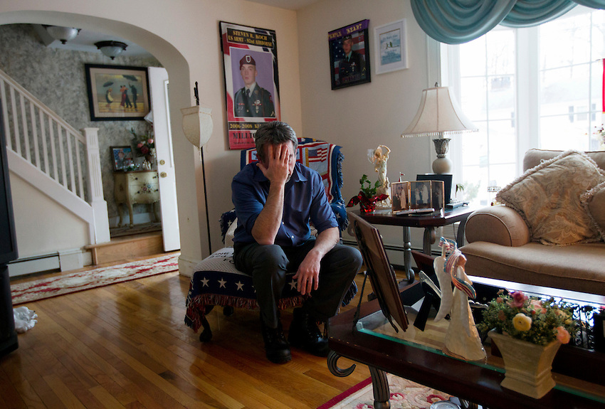 MILLTOWN, NJ - (Feb. 12, 2013) - William Koch becomes emotional during an interview in the living room of his Milltown home. Koch's son was an Army paratrooper who was killed in Afghanistan in 2008. Two years later, his grief-stricken daughter committed suicide.