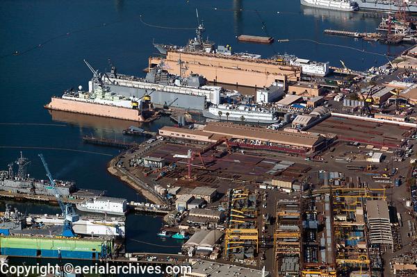 aerial photograph of General Dynamics NASSCO ship construction yard and BAE Systems Ship Repair, San Diego, California