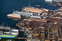 aerial photograph of General Dynamics NASSCO ship construction yard and BAE Systems Ship Repair, San Diego, California
