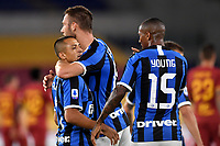 Stefan de Vrij of FC Internazionale (C) celebrates with Alexis Sanchez and Ashley Young of FC Internazionale after scoring the goal of 0-1 during the Serie A football match between AS Roma and FC Internazionale at stadio Olimpico in Roma ( Italy ), July 19th, 2020. Play resumes behind closed doors following the outbreak of the coronavirus disease. <br /> Photo Antonietta Baldassarre / Insidefoto