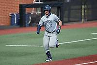 Brock Gagliardi (10) of the Old Dominion Monarchs jogs towards home plate during the game against the Charlotte 49ers at Hayes Stadium on April 23, 2021 in Charlotte, North Carolina. (Brian Westerholt/Four Seam Images)