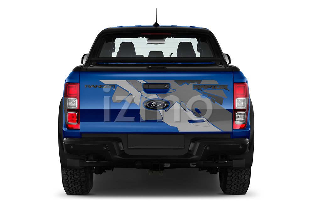 Straight rear view of 2019 Ford Ranger-Raptor - 4 Door Pick-up Rear View  stock images
