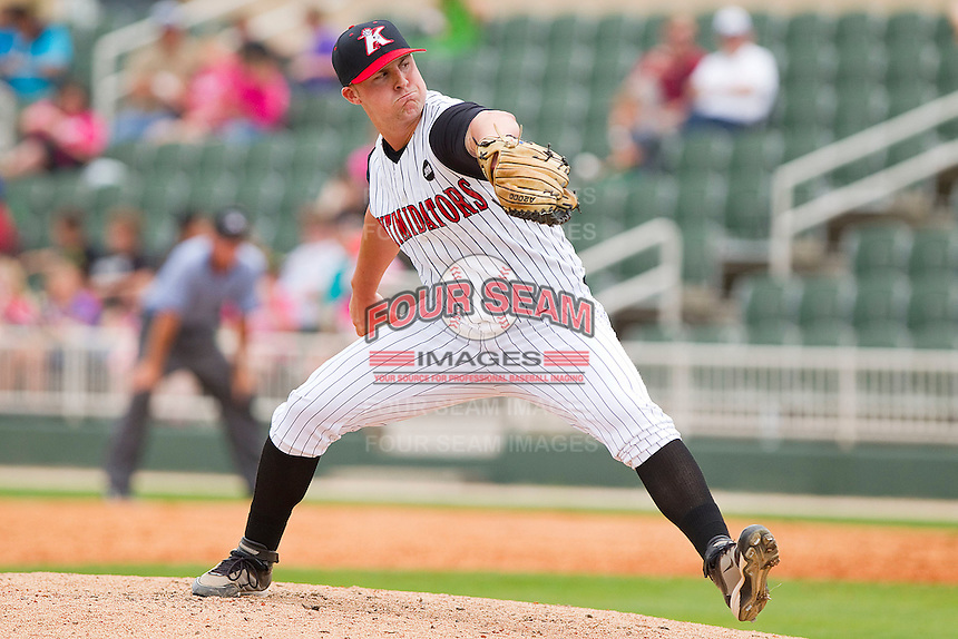 Relief pitcher Jacob Wilson #9 of the Kannapolis Intimidators in action against the West Virginia Power at Fieldcrest Cannon Stadium on April 20, 2011 in Kannapolis, North Carolina.   Photo by Brian Westerholt / Four Seam Images