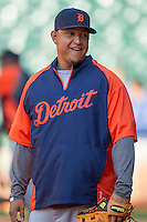 Detroit Tigers third baseman Miguel Cabrera (24) warms up before the MLB baseball game against the Houston Astros on May 3, 2013 at Minute Maid Park in Houston, Texas. Detroit defeated Houston 4-3. (Andrew Woolley/Four Seam Images).