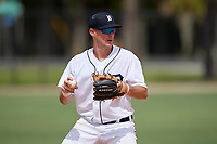 Detroit Tigers shortstop Ryan Kreidler (60) throws to first base during an Instructional League instrasquad game on September 20, 2019 at Tigertown in Lakeland, Florida.  (Mike Janes/Four Seam Images)