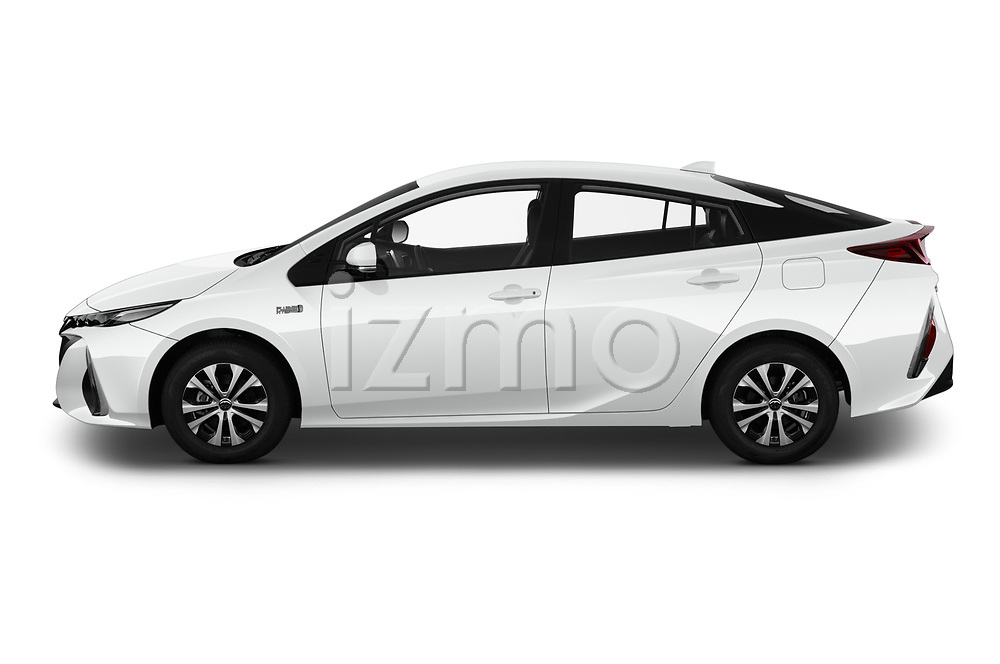 Car driver side profile view of a 2020 Toyota Prius-Prime XLE 5 Door Hatchback
