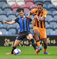 Hull City's Mallik Wilks battles with Rochdale's Jimmy Keohane<br /> <br /> Photographer Dave Howarth/CameraSport<br /> <br /> The EFL Sky Bet League One - Rochdale v Hull City - Saturday 17th October 2020 - Spotland Stadium - Rochdale<br /> <br /> World Copyright © 2020 CameraSport. All rights reserved. 43 Linden Ave. Countesthorpe. Leicester. England. LE8 5PG - Tel: +44 (0) 116 277 4147 - admin@camerasport.com - www.camerasport.com