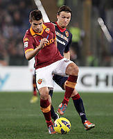 Calcio, Serie A: Roma vs Cagliari. Roma, stadio Olimpico, 1 febbraio 2013..AS Roma forward Erik Lamela, of Argentina, is challenged by Cagliari midfielder Albin Ekdal, of Sweden, right, during the Italian Serie A football match between AS Roma and Cagliari, at Rome's Olympic stadium, 1 February 2013..UPDATE IMAGES PRESS/Riccardo De Luca