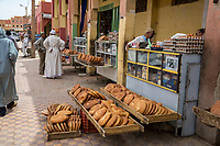 Rissani, Morocco.  Bread and Eggs for Sale on the Sidewalk.