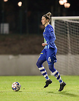Heleen Jaques (4) of AA Gent with the ball during a female soccer game between FC Femina White Star Woluwe and AA Gent Ladies on the 13 th matchday of the 2020 - 2021 season of Belgian Scooore Womens Super League , friday 5 th of February 2021  in Woluwe , Belgium . PHOTO SPORTPIX.BE | SPP | SEVIL OKTEM