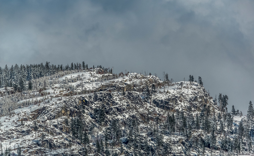 Snow covered Mountains in the Okanagan Valley in British Columbia Canada