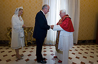Belgium's Queen Paola<br /> The privilege of the white is a special privilege granted to Catholic queens, or the wives of the Catholic kings, which, during the audience with the Pope, can wear a white dress instead of the usual black dress prescribed by ceremonial.<br /> <br /> White is currently the privilege granted only to the queen Letizia of Spain, Queen Mathilde of Belgium, Princess Charlene of Monaco, former Queen Sofia of Spain, former Queen Paola of Belgium and the Grand Duchess Maria Teresa of Luxembourg.<br /> <br /> Until 1946 the privilege was also granted to the Italian queen and princesses of the House of Savoy. Although Catholics, the privilege is not granted to the Principality of Liechtenstein and the Kingdom of Lesotho, and, until 2013, was not granted to the Principality of Monaco. The wives of the presidents do not enjoy the privilege of white.<br /> Pope Benedict XVI meets Belgium's King Albert II and Queen Paola at the Vatican October 10, 2009