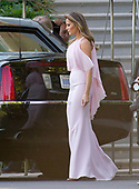 United States President Donald J. Trump and first lady Melania Trump depart the White House in Washington, DC to attend the wedding of US Secretary of the Treasury Steven Mnuchin and Louise Linton on Saturday, June 24, 2017.<br /> Credit: Ron Sachs / Pool via CNP United States President Donald J. Trump and first lady Melania Trump depart the White House in Washington, DC to attend the wedding of US Secretary of the Treasury Steven Mnuchin and Louise Linton on Saturday, June 24, 2017.  The first lady is wearing a Gilles Mendel silk chiffon gown with Manolo Blahnik pumps.<br /> Credit: Ron Sachs / Pool via CNP