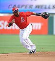Los Angeles Angels Erick Aybar (2) during a Spring Training game against the Chicago Cubs on February 28, 2014 at Cubs Park in Mesa, AZ. The Angels beat the Cubs 15-3.