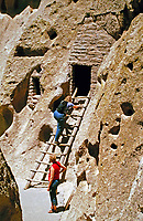 Traditional ladder in cliff dwelling of the Ancestral Puebloans, Southwestern United States