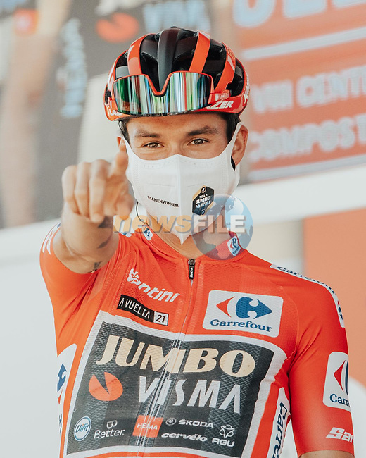 Primoz Roglic (SLO) Jumbo-Visma retakes the race leaders Red Jersey at the end of Stage 6 of La Vuelta d'Espana 2021, running 158.3km from Requena to Alto de la Montaña Cullera, Spain. 19th August 2021.    <br /> Picture: Cxcling | Cyclefile<br /> <br /> All photos usage must carry mandatory copyright credit (© Cyclefile | Cxcling)