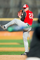 Youngstown State Penguins relief pitcher Nic Manuppelli (22) in action against the Wake Forest Demon Deacons at Wake Forest Baseball Park on February 24, 2013 in Winston-Salem, North Carolina.  The Demon Deacons defeated the Penguins 6-5.  (Brian Westerholt/Four Seam Images)