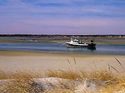 Fishing boat achored in Hampton Harbor in Seabrook, New Hampshire USA.