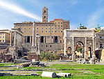 Roman Forum in Rome, Italy including Temple of Saturn, Temple of Vespasian and Titus, Column of Phocas, and ARch of Septimus Severus.