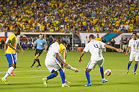Miami, FL - Saturday, Nov 16, 2013: Brazil vs Honduras during an international friendly at Miami's Sun Life Stadium. Brazil forward Hulk shoots to score the fifth goal of the Brazilians.