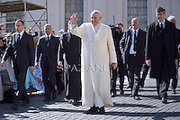 Pope Francis during his weekly general audience in St. Peter square at the Vatican, Wednesday.April 16 2014.
