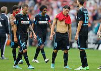 Fussball: Germany, 1. Bundesliga.TSG 1899 Hoffenheim.Kevin VOLLAND, Fabian JOHNSON and Matthieu DELPIERRE.?Ǭ© pixathlon