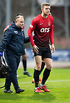 St Johnstone v Kilmarnock…24.11.18…   McDiarmid Park    SPFL<br />Stuart Findlay limps off injured<br />Picture by Graeme Hart. <br />Copyright Perthshire Picture Agency<br />Tel: 01738 623350  Mobile: 07990 594431