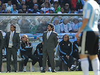 Argentinian coach Diego Maradona oversees his team's play through the midfield. Argentina defeated South Korea, 4-1, in both teams' second match of play in Group B of the 2010 FIFA World Cup. The match was played at Soccer City in Johannesburg, South Africa June 17th.