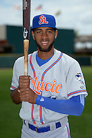 St. Lucie Mets shortstop Amed Rosario (11) poses for a photo before a game against the Bradenton Marauders on April 12, 2015 at McKechnie Field in Bradenton, Florida.  Bradenton defeated St. Lucie 7-5.  (Mike Janes/Four Seam Images)