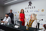 Director of the film, Xavier Gens, director of Sitges Festival Angel Sala, actress Aura Garrido and producer Denise O'Dell during press conference of 'La Piel Fria' at Sitges Film Festival in Barcelona, Spain October 11, 2017. (ALTERPHOTOS/Borja B.Hojas)