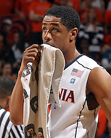 Jan. 22, 2011; Charlottesville, VA, USA; Virginia Cavaliers guard Jontel Evans (1) applies pressure to a bloodied lip during the game after the game at the John Paul Jones Arena. Virginia won 72-64. Mandatory Credit: Andrew Shurtleff