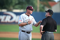 Texas A&M Aggies Head Coach Rob Childress (29) argues a call during a game against the Pepperdine Waves at Eddy D. Field Stadium on February 26, 2016 in Malibu, California. Pepperdine defeated Texas A&M, 7-5. (Larry Goren/Four Seam Images)