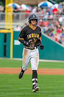 Indianapolis Indians shortstop Kevin Newman (3) jogs back to the dugout during an International League game against the Buffalo Bisons on July 28, 2018 at Victory Field in Indianapolis, Indiana. Indianapolis defeated Buffalo 6-4. (Brad Krause/Four Seam Images)