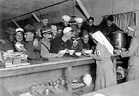 Scene at A.R.C. Canteen at the station of Bordeaux, France, where soldiers of the Allied Armies get lunches, tobacco, etc.  October 1918.  American Red Cross. (War Dept.)<br /> Exact Date Shot Unknown<br /> NARA FILE #:  165-WW-43A-11<br /> WAR & CONFLICT BOOK #:  658
