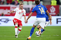 11th October 2020, The Stadion Energa Gdansk, Gdansk, Poland; UEFA Nations League football, Poland versus Italy; Kamil Jozwiak takes a shot on goal as Chiesa comes in to tackle