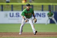 Down East Wood Ducks third baseman Cristian Inoa (4) on defense against the Kannapolis Cannon Ballers at Atrium Health Ballpark on May 5, 2021 in Kannapolis, North Carolina. (Brian Westerholt/Four Seam Images)