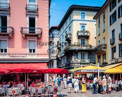 Schweiz, Tessin, Lugano: Cafes auf der Piazza della Riforma | Switzerland, Ticino, Lugano: Cafes at Piazza della Riforma