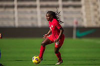 ORLANDO, FL - FEBRUARY 24: Deanne Rose #6 of the CANWNT dribbles the ball during a game between Brazil and Canada at Exploria Stadium on February 24, 2021 in Orlando, Florida.
