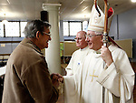 Waterbury, CT- 29 December 2013-122913CM03- Les Beland, of Waterbury meets with Archbishop Leonard P. Blair, at the Basilica of the Immaculate Conception in Waterbury Sunday.   Archbishop Blair, the newly installed Archbishop of Hartford celebrated mass, then met parishioners during a reception.   Christopher Massa Republican-American