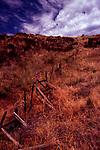 Fenceline climbs ridge outside Imnaha, Oregon on Hat Point Road, Hells Canyon National Recreation Area, Oregon