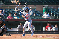 Mesa Solar Sox shortstop Nico Hoerner (17), of the Chicago Cubs organization, at bat during an Arizona Fall League game against the Scottsdale Scorpions at Scottsdale Stadium on November 2, 2018 in Scottsdale, Arizona. The shortened seven-inning game ended in a 1-1 tie. (Zachary Lucy/Four Seam Images)