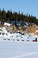Allen Moore runs on the Bering Sea after leaving the Elim checkpoint during the 2010 Iditarod