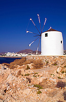 Island of Paros, Greece, windmill in main city of Parikia