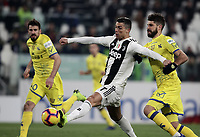 Calcio, Serie A: Juventus - Chievo Verona, Turin, Allianz Stadium, January 21, 2019.<br /> Juventus' Cristiano Ronaldo (l) in action with Chievo's Luca Rossettini (r) during the Italian Serie A football match between Juventus and Chievo Verona at Torino's Allianz stadium, January 21, 2019.<br /> UPDATE IMAGES PRESS/Isabella Bonotto