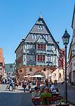 Germany, Bavaria, Lower Franconia, Miltenberg: hotel 'Haus Zum Riesen' in main street | Deutschland; Bayern; Franken (Unterfranken), Miltenberg: das Haus Zum Riesen (Hotel) in der Hauptstrasse (Fussgaengerzone) soll (nach eigenen Angaben) eines der aeltesten Gasthaeuser Deutschlands sein