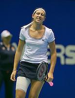 18-12-13,Netherlands, Rotterdam,  Topsportcentrum, Tennis Masters, Rosalie van der Hoek (NED)is in pain<br /> Photo: Henk Koster