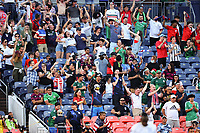 DENVER, CO - JUNE 3: USA fans during a game between Honduras and USMNT at Empower Field at Mile High on June 3, 2021 in Denver, Colorado.