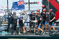 The Great Sound, Bermuda, 26th June 2017. Emirates Team New Zealand win race nine to win the America's Cup. Helmsman Peter Burling and trimmer Blair Tuke spray Grant Dalton with Moet Champagne in celebration.<br /> Vela Coppa America 2017 <br /> Foto Chris Cameron / Panoramic / Insidefoto